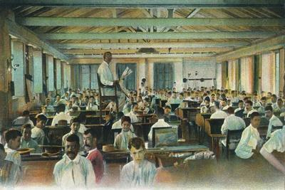 Lector reading to cigar rollers, Cigar Factory, Havana, Cuba, 1910s-Unknown-Framed Giclee Print