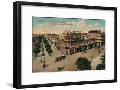 Habana: Prado, Neptuno y Hotel Plaza. Prado, Central Park and Plaza Hotel, c1910-Unknown-Framed Giclee Print
