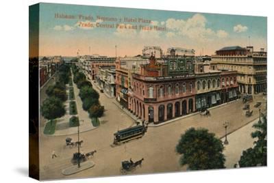 Habana: Prado, Neptuno y Hotel Plaza. Prado, Central Park and Plaza Hotel, c1910-Unknown-Stretched Canvas Print