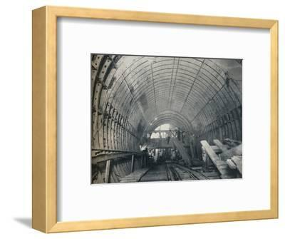 Modern Emulation of Piranesi: No. 3 escalator tunnel at Piccadilly Circus Station, 1929-Unknown-Framed Photographic Print