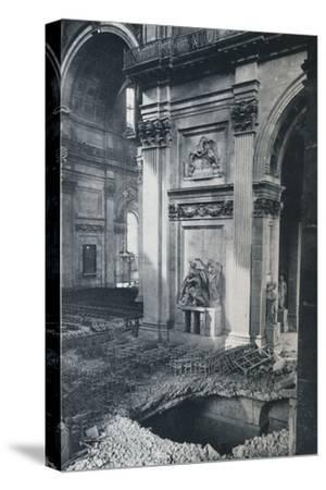 'North Transept of St. Paul's Cathedral after bombing, 1941'-Unknown-Stretched Canvas Print