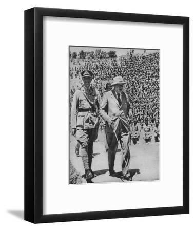 'Home via the Battlefields - Mr Churchill in the ancient Roman amphitheatre at Carthage', 1943-44-Unknown-Framed Photographic Print