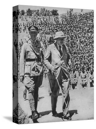 'Home via the Battlefields - Mr Churchill in the ancient Roman amphitheatre at Carthage', 1943-44-Unknown-Stretched Canvas Print