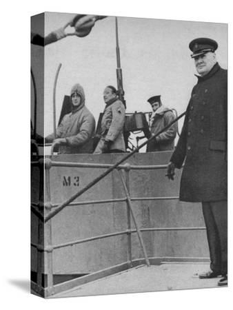 'Mr Churchill with a British and American gun crew', 1943-44-Unknown-Stretched Canvas Print