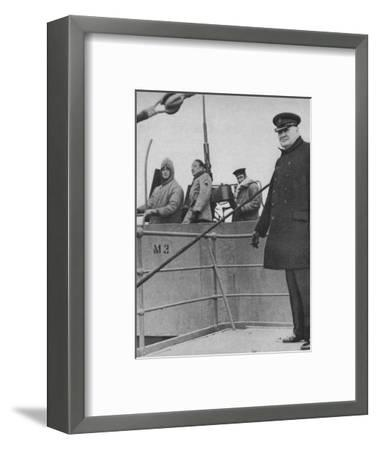 'Mr Churchill with a British and American gun crew', 1943-44-Unknown-Framed Photographic Print
