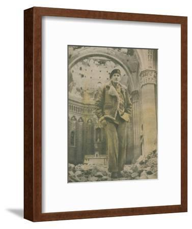 'General Sir Bernard Montgomery, surveys the shell-torn ruins of Fossacesia', 1944-1944-Unknown-Framed Photographic Print