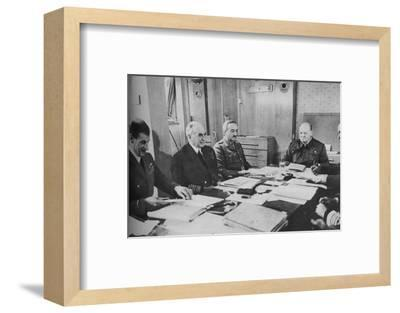'Mr Churchill at a conference on board ship', 1943-1944.-Unknown-Framed Photographic Print