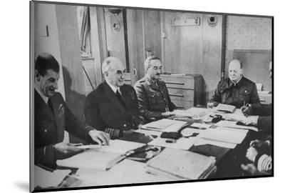 'Mr Churchill at a conference on board ship', 1943-1944.-Unknown-Mounted Photographic Print