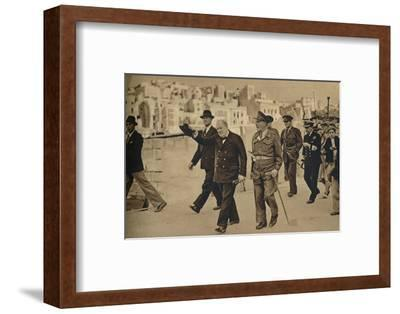 'Mr. Churchill called at Malta, where he is seen with Field-Marshal Lord Gort', 1943-1944-Unknown-Framed Photographic Print