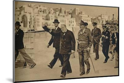 'Mr. Churchill called at Malta, where he is seen with Field-Marshal Lord Gort', 1943-1944-Unknown-Mounted Photographic Print