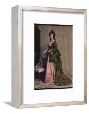 'An afternoon dress of green and pink silk. Very typical of the modes between 1868 and 1878', c1913-Unknown-Framed Photographic Print