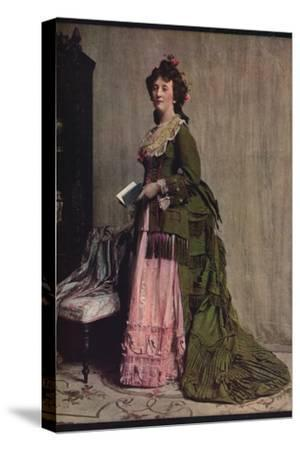 'An afternoon dress of green and pink silk. Very typical of the modes between 1868 and 1878', c1913-Unknown-Stretched Canvas Print