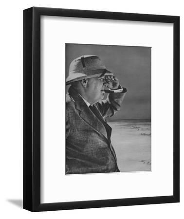 'Mr. Churchill Spies the Enemy', 1943.-Unknown-Framed Photographic Print
