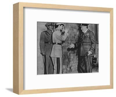 'Mr. Churchill is greeted by the Shah of Persia', 1943-Unknown-Framed Photographic Print