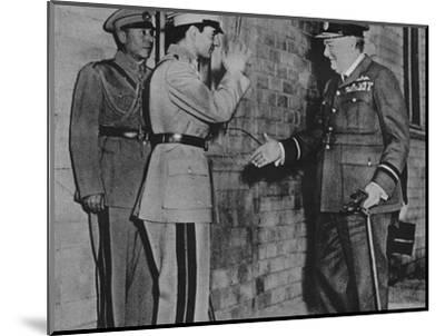 'Mr. Churchill is greeted by the Shah of Persia', 1943-Unknown-Mounted Photographic Print