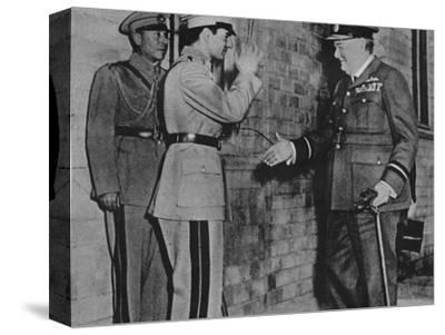 'Mr. Churchill is greeted by the Shah of Persia', 1943-Unknown-Stretched Canvas Print