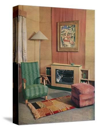 'A sitting room with a painting by J.D. Fergusson above the fire', 1935-Unknown-Stretched Canvas Print