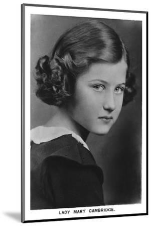 'Lady Mary Cambridge', 1937-Unknown-Mounted Photographic Print