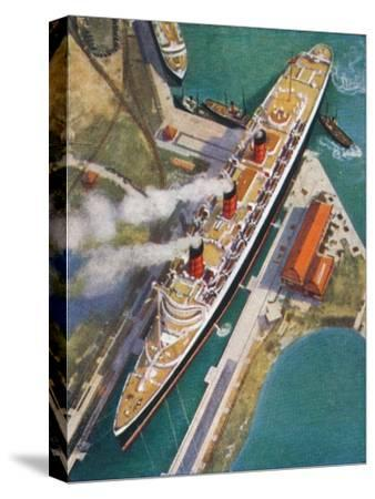 The 'Queen Mary' at Southampton, 1938-Unknown-Stretched Canvas Print