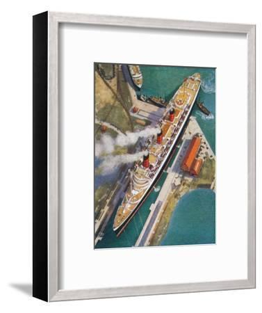 The 'Queen Mary' at Southampton, 1938-Unknown-Framed Giclee Print