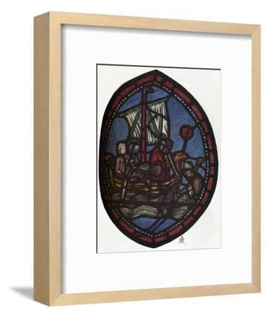 'St Nicholas window in the Jerusalem Chamber of Westminster Abbey: Nicholas and the false pilgrim'-Unknown-Framed Giclee Print