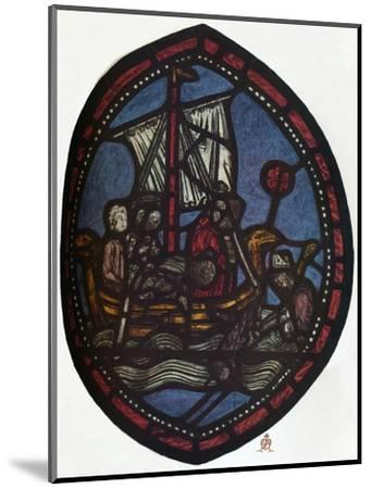 'St Nicholas window in the Jerusalem Chamber of Westminster Abbey: Nicholas and the false pilgrim'-Unknown-Mounted Giclee Print