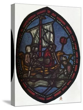 'St Nicholas window in the Jerusalem Chamber of Westminster Abbey: Nicholas and the false pilgrim'-Unknown-Stretched Canvas Print