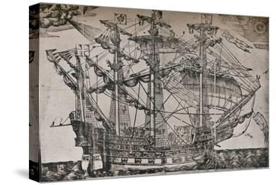 A woodcut of a ship which is believed to be The Ark Royal, c1587-Unknown-Stretched Canvas Print