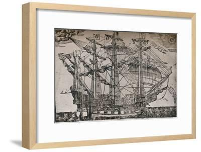 A woodcut of a ship which is believed to be The Ark Royal, c1587-Unknown-Framed Giclee Print