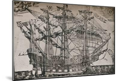 A woodcut of a ship which is believed to be The Ark Royal, c1587-Unknown-Mounted Giclee Print