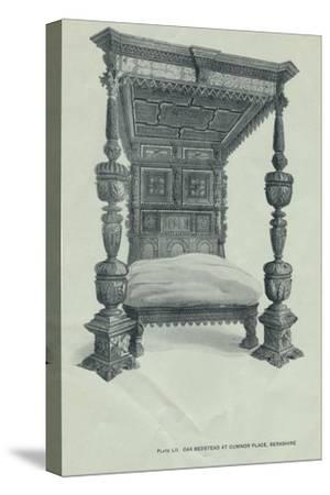 Oak bedstead at Cumnor Place, Berkshire, 1915-Unknown-Stretched Canvas Print