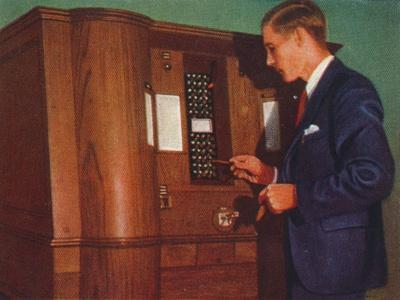 Slot machine that plays bridge, 1938-Unknown-Framed Giclee Print