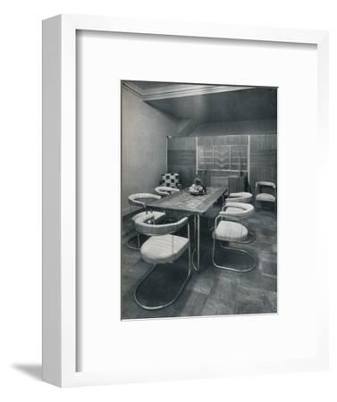 'A dining-room suite, with table and chairs of steel tube. By Practical Equipment Ltd., of London'-Unknown-Framed Photographic Print