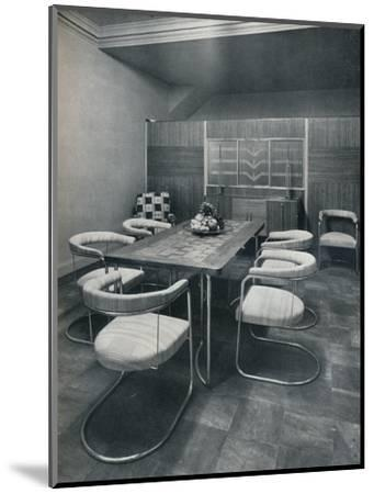 'A dining-room suite, with table and chairs of steel tube. By Practical Equipment Ltd., of London'-Unknown-Mounted Photographic Print