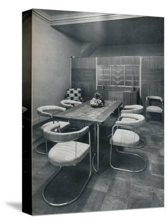 'A dining-room suite, with table and chairs of steel tube. By Practical Equipment Ltd., of London'-Unknown-Stretched Canvas Print