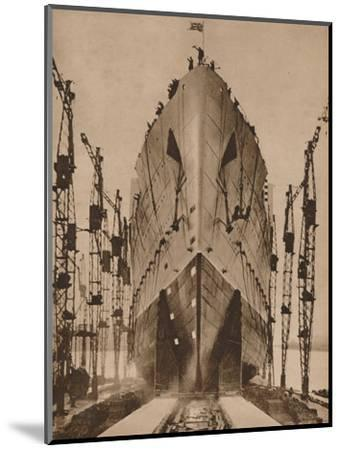 Launch of the Cunard ocean liner `Queen Mary`, 1934 (1935)-Unknown-Mounted Photographic Print