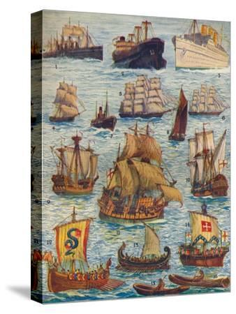 'Ships of many kinds and many centuries', c1934-Unknown-Stretched Canvas Print