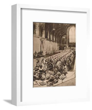 The victims of the R101 airship disaster lying in state in Westminster Hall, London, 1930 (1935)-Unknown-Framed Photographic Print