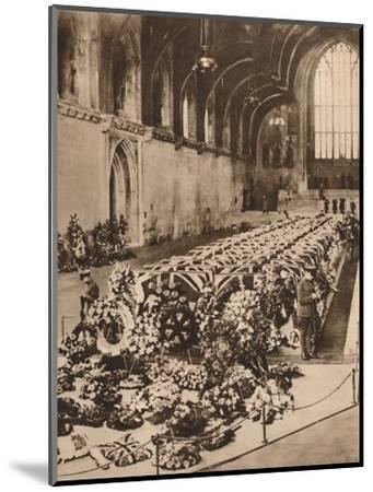 The victims of the R101 airship disaster lying in state in Westminster Hall, London, 1930 (1935)-Unknown-Mounted Photographic Print