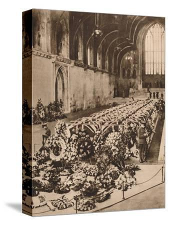The victims of the R101 airship disaster lying in state in Westminster Hall, London, 1930 (1935)-Unknown-Stretched Canvas Print