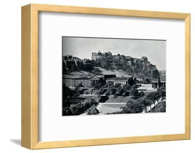 'View of the National Gallery of Scotland and Edinburgh Castle', c1945-Unknown-Framed Photographic Print