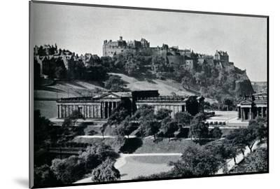 'View of the National Gallery of Scotland and Edinburgh Castle', c1945-Unknown-Mounted Photographic Print