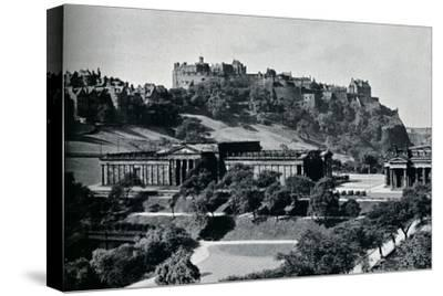 'View of the National Gallery of Scotland and Edinburgh Castle', c1945-Unknown-Stretched Canvas Print