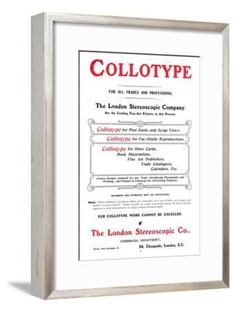 An advert for the Collotype process offered by The  London Stereoscopic Company, 1903-Unknown-Framed Giclee Print