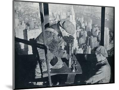 'Rivetting the last bolts on The Morning Mast of the Empire State building', c1931-Lewis Wickes Hine-Mounted Photographic Print