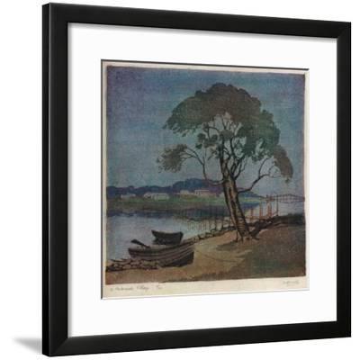 'A Waterside Village', c1921-Archibald Bertram Webb-Framed Giclee Print