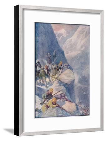 Crushed by Rolling Stones, Mown Down by Volleys of Musket-Shot The Men Fell In Hundreds', 1908-Joseph Ratcliffe Skelton-Framed Giclee Print