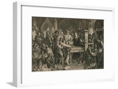 Caxton showing the first specimen of his printing to King Edward IV at Westminster, c1477-Unknown-Framed Giclee Print