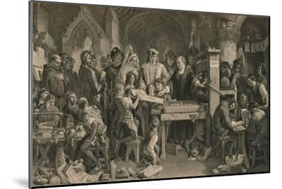 Caxton showing the first specimen of his printing to King Edward IV at Westminster, c1477-Unknown-Mounted Giclee Print