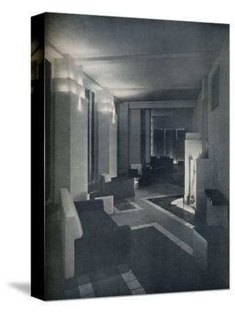 '1930s interior with contemporary lighting', 1930-Unknown-Stretched Canvas Print